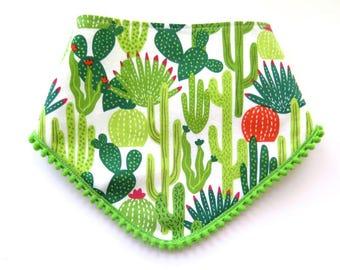 Pom Pom Bib - Bibdana - Bandana Style Drool Bib - Baby Girl Gift - Boho Style - Boho Baby - Succulents - Cactus - Desert Southwest Beach