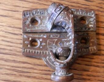 one (1) antique cast bronze window latch payson pat 1878? architectural salvage