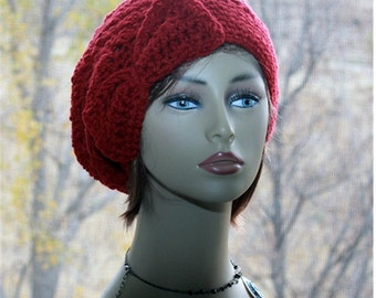Crochet Womens Hat, Bow Hat,  Slouchy Hat  Beanie, Crochet Cranberry  Red, Red Bow Hat, Valentines gift for her