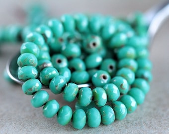 Turquoise Picasso Rondelle Beads, Czech Glass beads, Fire Polished beads, faceted glass donut beads, 3X5mm (50pcs) NEW