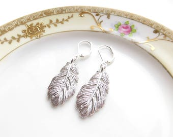 Silver Feather Earrings, Native Style Earrings, Leverback Hypo Allergenic Hooks, Lightweight Earrings