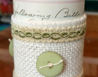 Decorative Candle, Hand Decorated with Antique Ledger Papers (ca. 1912) and Trim