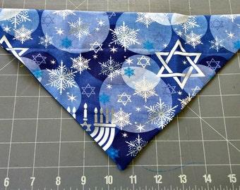 Hanukkah Dog Bandana - menorah, star of david, blue, silver