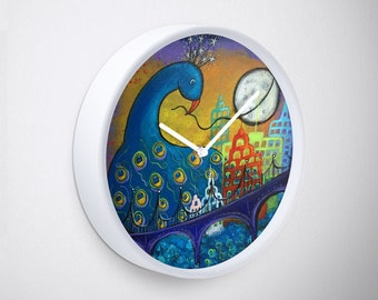 Peacock in City Original Art Wall Clock