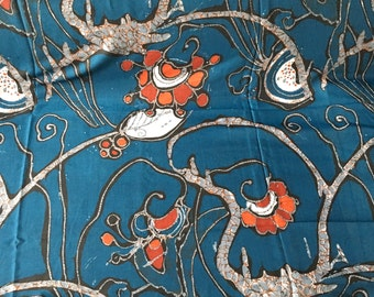Vintage French Voile Fabric Asahi Print Yardage Material