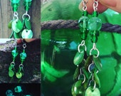 Shorter Green  Glow in the Dark Shell Earrings