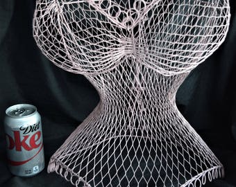 Vintage Wire DRESS FORM CORSET Mannequin Display Pink Bust Victorian Decor Shabby Cottage Chic Lady Ladies Woman Women Clothing Decoration