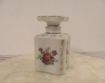 Vintage Perfume Bottle - Porcelain Thames - Gold Accent Filigree - Hand Painted - Made in Japan - Mid Century - Best Condition -