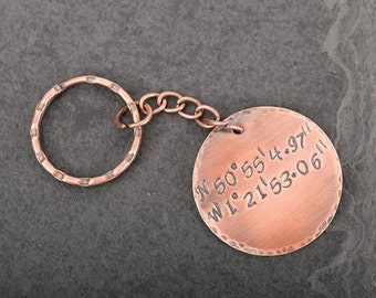 Copper Anniversary Gifts, 7th Wedding Keyring Personalised with Special Dates, Coordinates, Lyrics of your Choice, Perfect Gift For Wife
