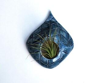 Blue Chevron Air Plant Holder - Ceramic Wall Hanging Planter - Lauren Sumner Pottery - Gift for Plant Lovers