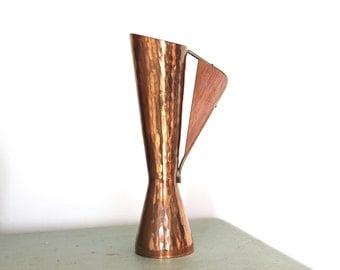 "Mid Century Modern Copper & Teak Vase 7.25"" Tall"