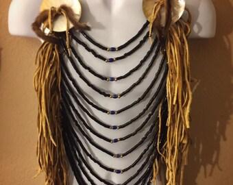 Native American Made Loop Necklace Breastplate Crow Style Brain Tan buckskin