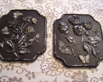 Vintage Black / Ivory Chalk Painted Plaques, Floral Wall Hangings, Flowers, Butterflies, Bees, Shabby, Distressed