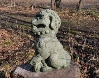 "Cement 10"" Tall Chinese Foo Dog Garden Art Statue Green Concrete Asian Paw Up"