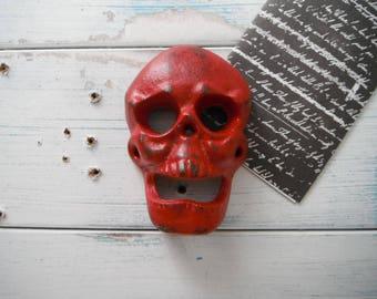 red skull bottle opener man cave beer opener decor cast iron bottle opener wall decor rustic decor barware bar accessory kitchen decor