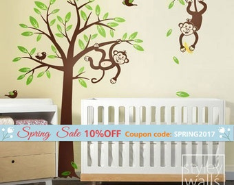Monkey Tree Wall Decal- 2 Monkeys swinging from Branch and Tree with Birds Wall Decal - Nursery Kids Vinyl Wall Decal Baby Room Wall Sticker
