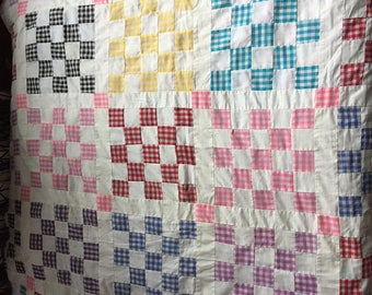 Beautiful 25 Patch Gingham and Bleached Muslin Quilt Top Colorful Vintage 92 x 103 inches