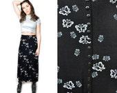 FREE SHIPPING - VTG 90s High Waist Grunge Maxi Skirt W Butterflies and Slit Small Medium Vintage