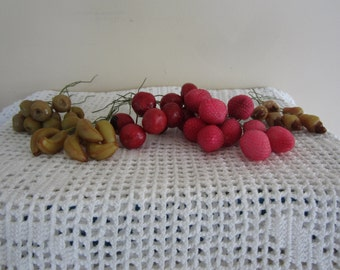 Vintage Millinery Fruit Lot of 5 Packs Waxy Texture Multiple Stems Craft Supplies