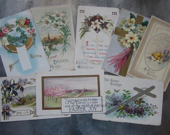 Antique Easter Post Card Lot Early 1900's Lot of 8 Colorful Post Cards