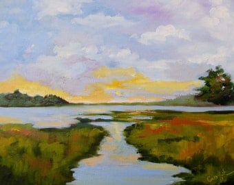 GICLEE - Modern Impressionist Marsh Landscape of Original Oil Painting by Rebecca Croft