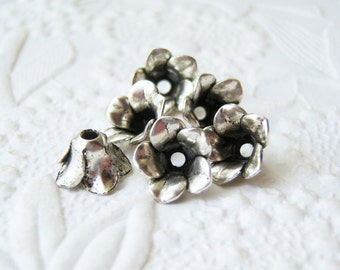 Antique silver plated flower petal bead caps, lot of (6) - BG189