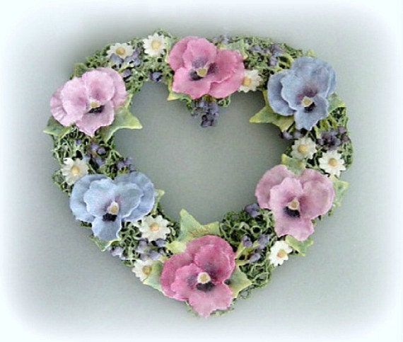 Shabby Chic Heart Wall Heart Decor Cottage Chic Heart Clay Flower Heart Decoration Wedding Gift Floral Heart Wall Hanging Romantic Heart