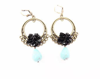 Black and Turquoise Tear Drop Earrings
