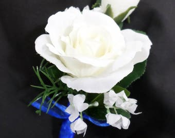 Boutonniere - White Silk Rose Boutonniere - Floral Boutonniere White and Blue - Prom Boutonniere