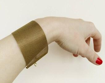 Wide Cuff Bracelet, Gold Mesh Bracelet, Cuff Bracelet for Women, Minimalist Bracelet