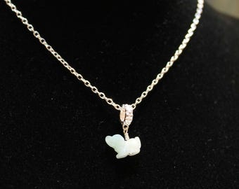 Dainty Jade Dog Silver Necklace, Light Green Jade, Sterling Silver Chain, Birthday Gift, Birth Animals