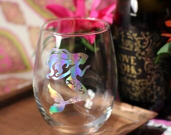 Mermaid Stemless Wine Glass - Mermaid Wine Glass - Stemless Glass - Gift for Her - Stemless Wine Glass - Mermaid Gift - Wine Gift -Drinkware