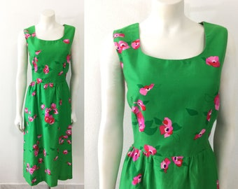 Vintage 1960s Malia Hawaiian Dress Green and Pink Floral Print