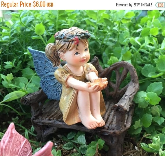 SALE Sweet Flower Crown Fairy Figurine, With Pig Tails, Holding Gem, Blue Wings, Miniature Garden Decor, Topper