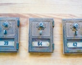 Three Vintage Greek Key Brass Post Box Doors Combination Lock Number Tag