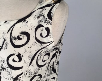Vintage 80s Top, Womens Tank Top, White, Black, Swirls, Rayon, Label: Catchy, S 8, Multiples x 4, Other Sizes & Colors, Never Worn