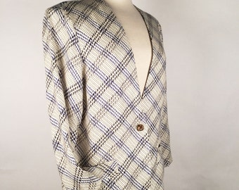 Vintage 90s Blazer, Womens Oversize Blazer, Blue, Black & Cream, Houndstooth, Windowpane, Rayon, Multiple Sizes, Other Colors, Most Capable!