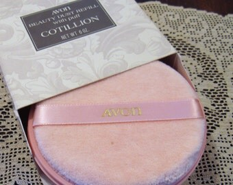 Vintage Avon Cotillion Beauty Dust Refill with Puff, NOS, Sealed, 6 oz.