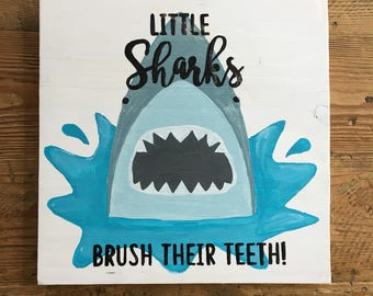 Little Sharks Brush Their Teeth Bathroom Sign
