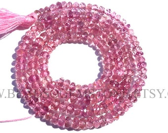 Pink Tourmaline Faceted Rondelle (Quality AA) / 3.50 to 4.50 mm / 36 cm / TOUR-010