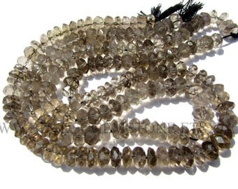 Smoky Faceted Roundel (Quality B) / 7 to 8 mm / 36 cm / SM-032