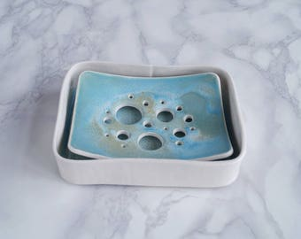 Ceramic soap dish and tray set, BUBBLE holes design, aqua turquoise white glaze, porcelain soap dish, bathroom accessory, counter top
