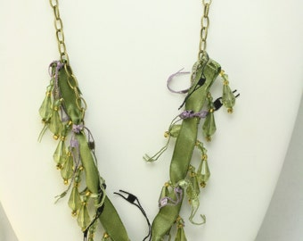 Whimiscal Olive Green and Lavendar Beaded Necklace on antique brass