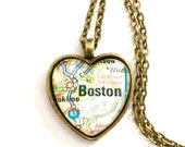 Boston Massachusetts Map Necklace, Heart Shaped Map Pendant with Chain, Bronze or Silver