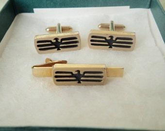 Vintage 3pc THUNDERBIRD Cuff Links & Tie Bar Set - Circa 1970 Inset Black + Gold Men's Accessories