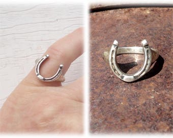 Vintage Sterling Silve Lucky Horseshoe Ring w/ Hallmark & 926 Stamp Cowboy Cowgirl Western Ring Size 6 3/4