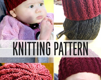 Cabled Baby Beanie Quick Easy Illustrated Knitting Pattern No Cable Needle Necessary PDF Preemie Newborn Toddler Sizes
