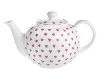 TEAPOT, Nina Campbell Pink HEARTS pattern, Fine Bone China, Made in England, perfect for a Tea Party!