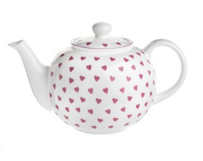 TEAPOT, Nina Campbell Pink HEARTS pattern, Fine Bone China Made in England for a Tea Party, Afternoon Tea, Bridal or Baby Shower, New Home