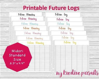 Future Log Bullet Journal Printable, Calendex, Midori Inserts, Traveler's Notebook Printable, Instant Download